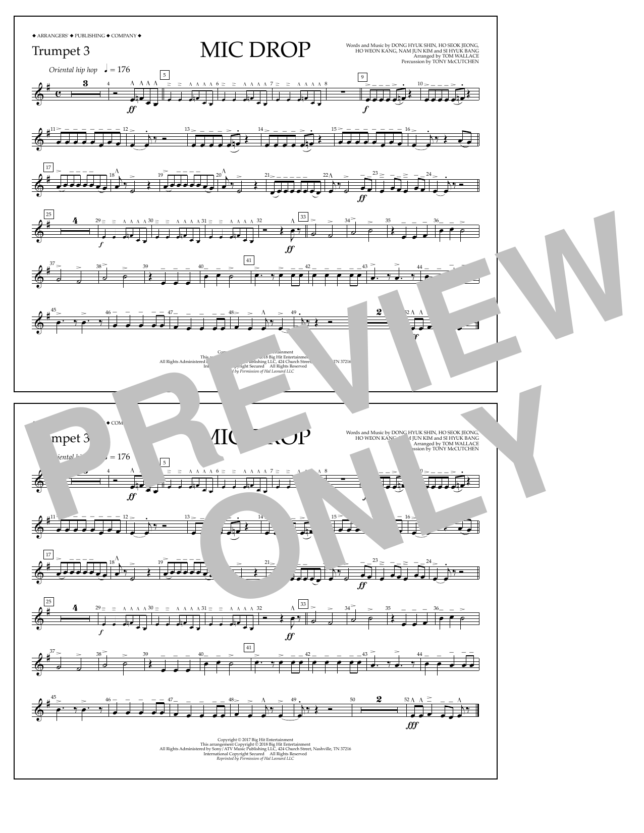 Download Tom Wallace 'Mic Drop - Trumpet 3' Digital Sheet Music Notes & Chords and start playing in minutes