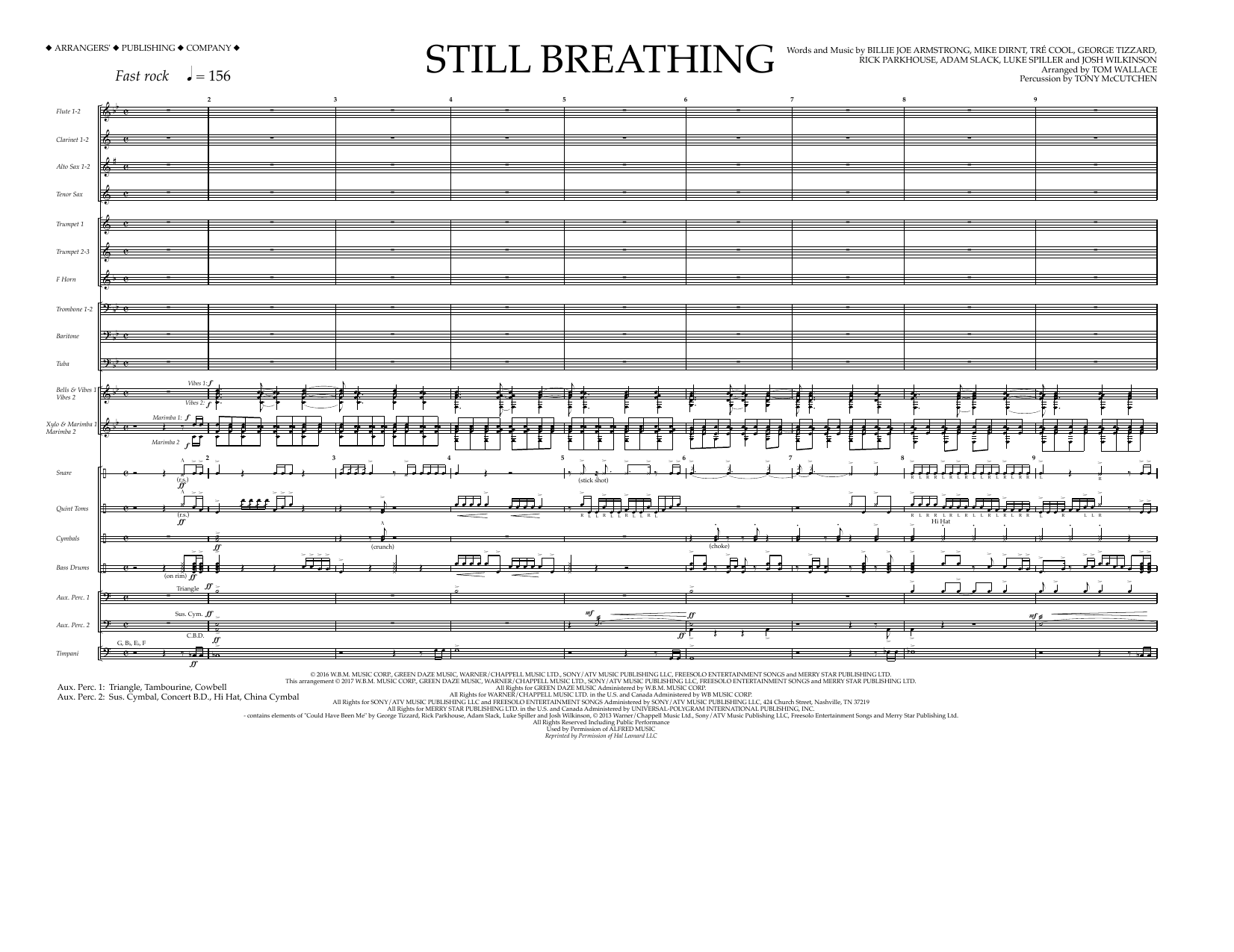 Tom Wallace Still Breathing - Full Score sheet music preview music notes and score for Marching Band including 7 page(s)