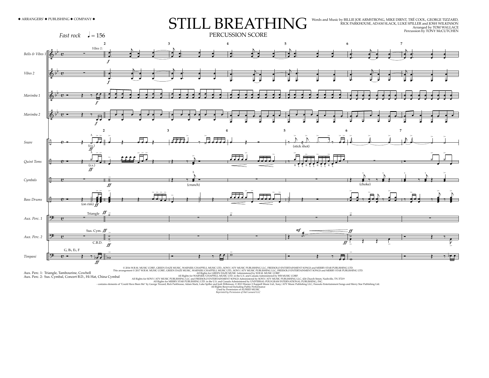 Tom Wallace Still Breathing - Percussion Score sheet music preview music notes and score for Marching Band including 10 page(s)