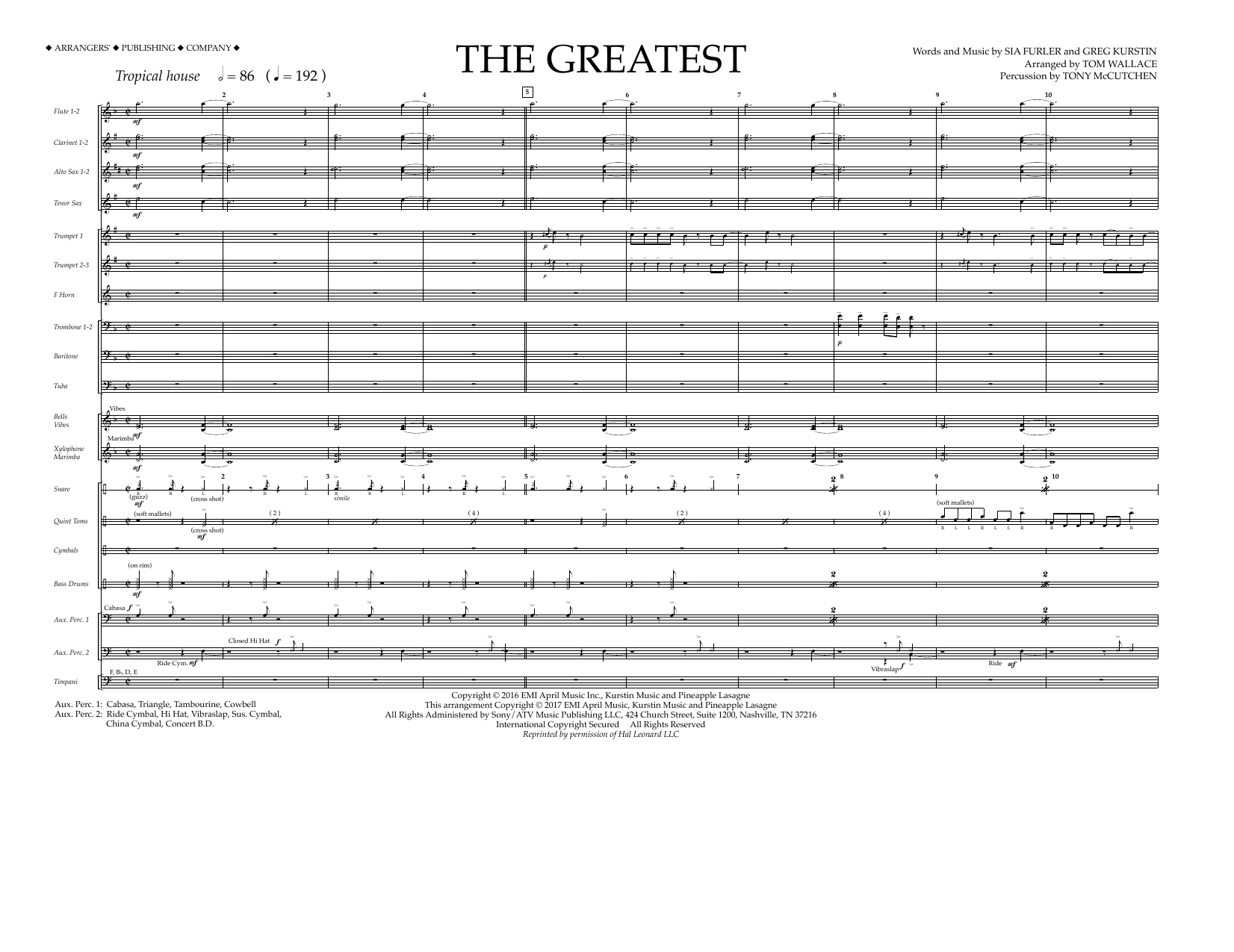 Tom Wallace The Greatest - Full Score sheet music preview music notes and score for Marching Band including 8 page(s)