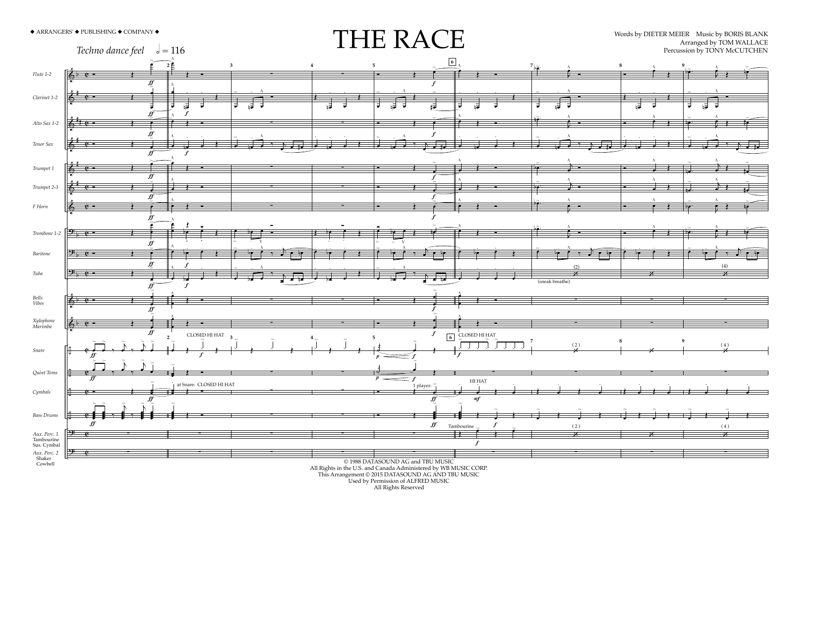 Tom Wallace The Race - Full Score sheet music preview music notes and score for Marching Band including 10 page(s)