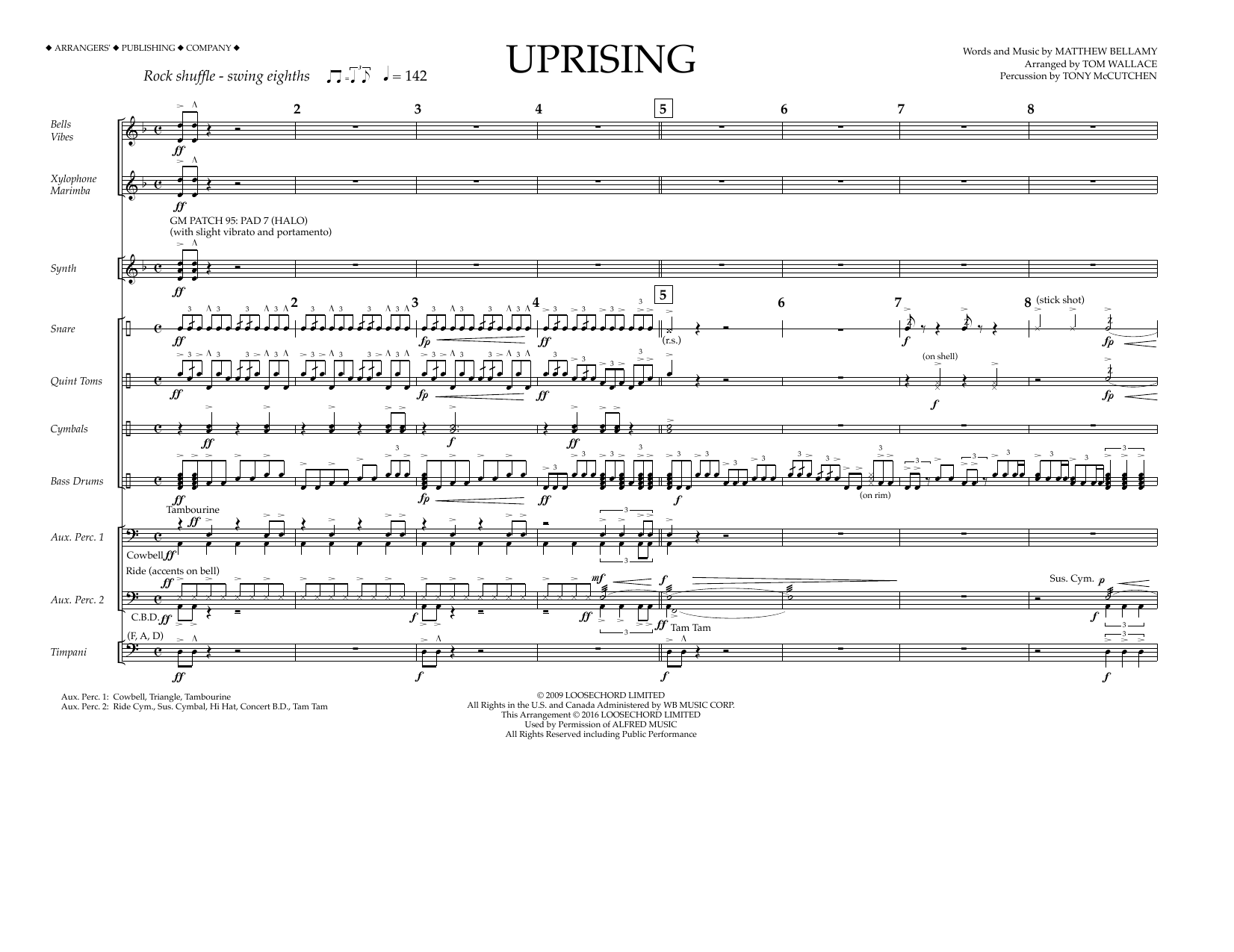 Download Tom Wallace 'Uprising - Percussion Score' Digital Sheet Music Notes & Chords and start playing in minutes
