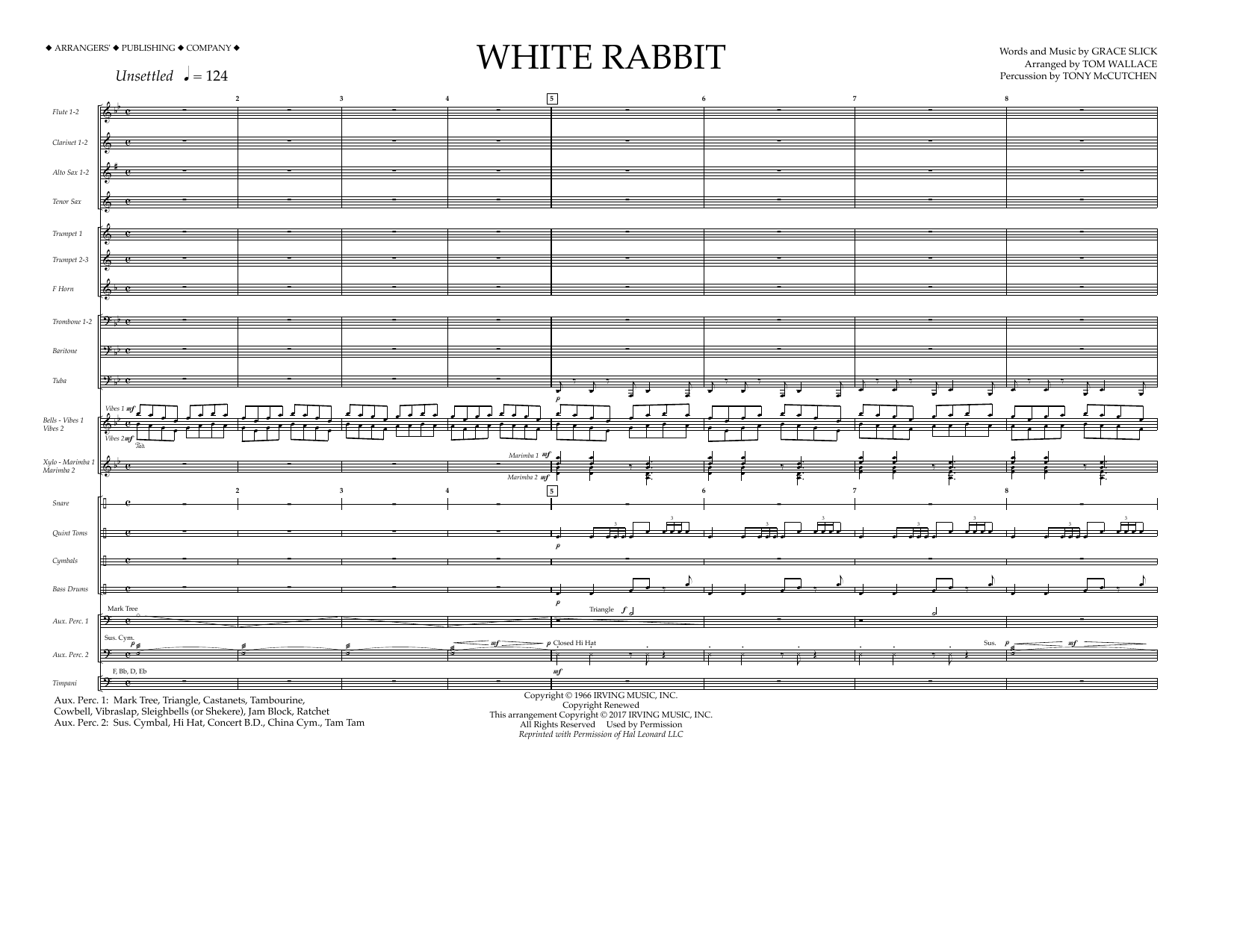 Tom Wallace White Rabbit - Full Score sheet music preview music notes and score for Marching Band including 10 page(s)