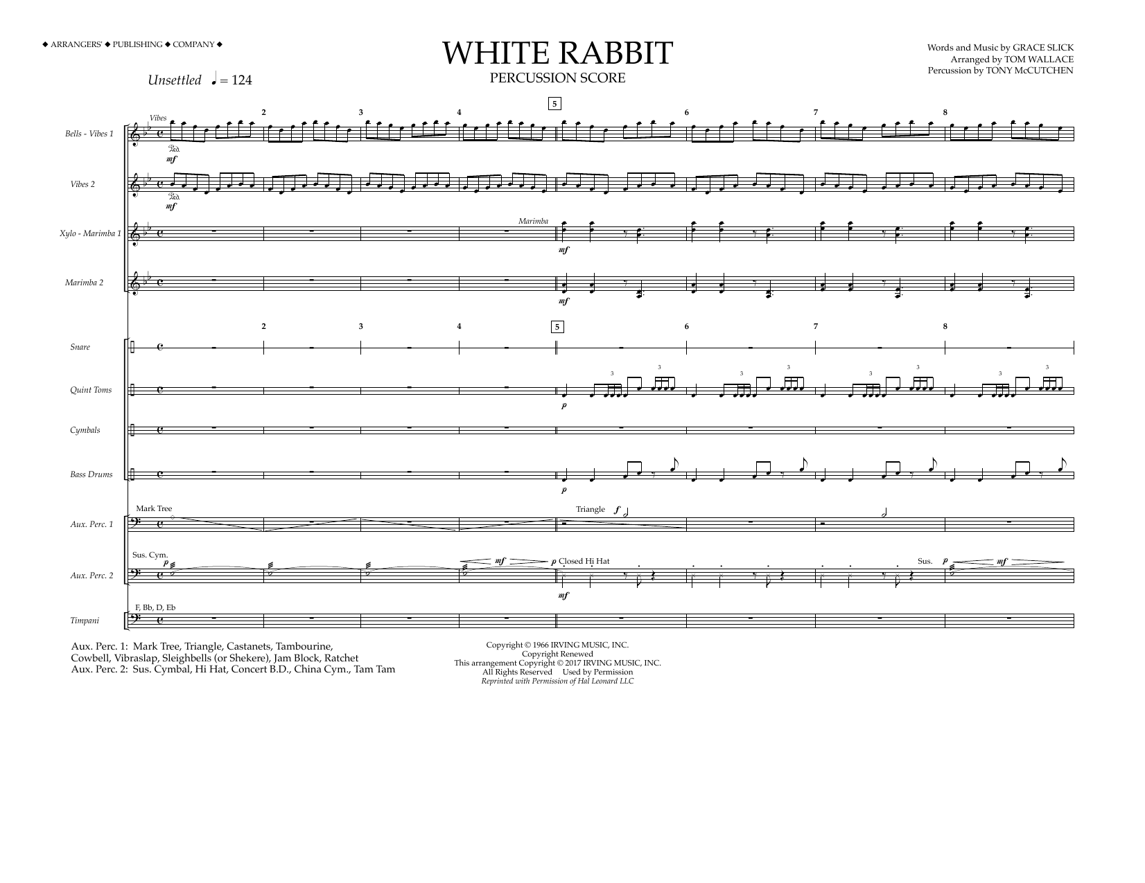 Tom Wallace White Rabbit - Percussion Score sheet music preview music notes and score for Marching Band including 12 page(s)