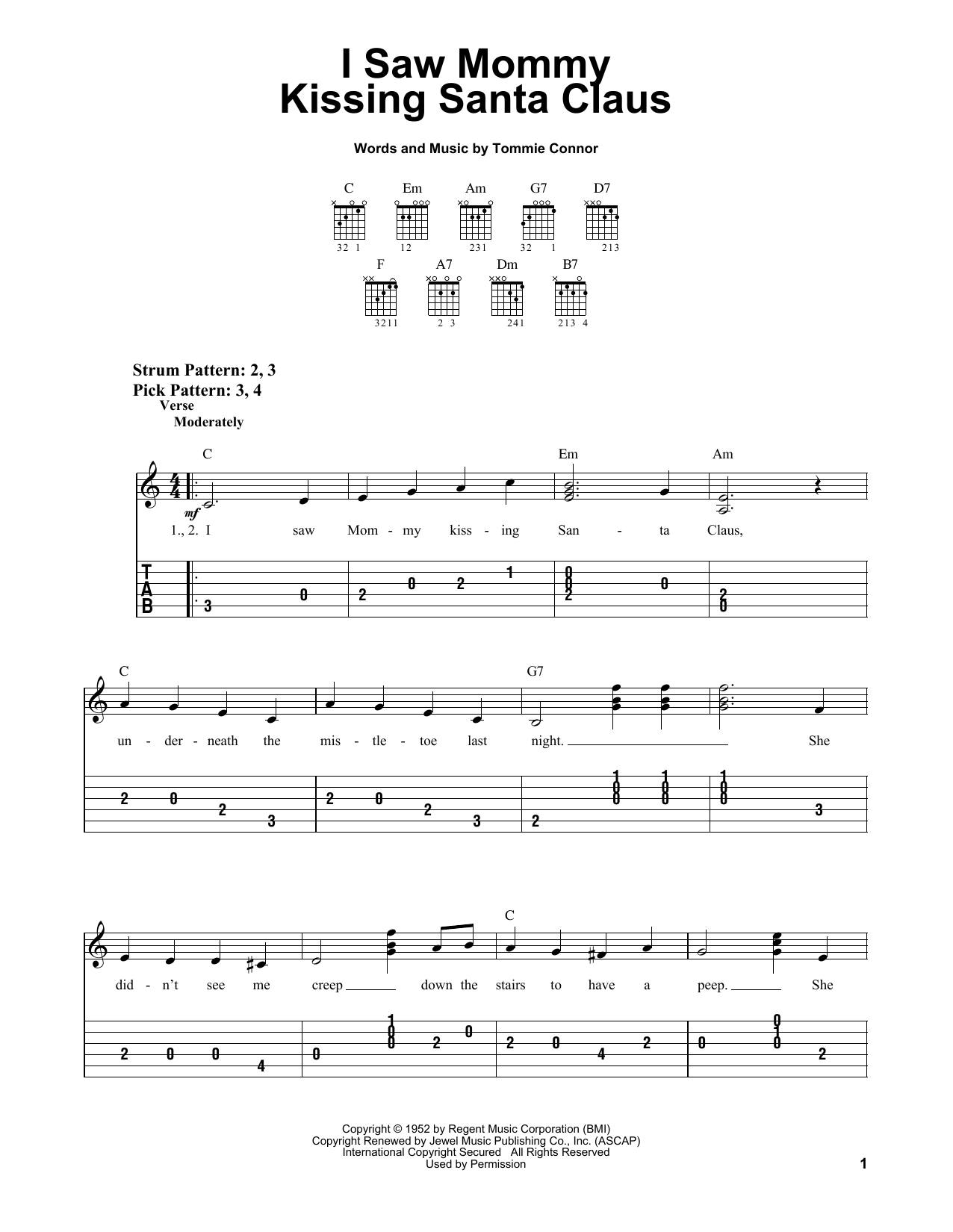 Download Tommie Connor 'I Saw Mommy Kissing Santa Claus' Digital Sheet Music Notes & Chords and start playing in minutes