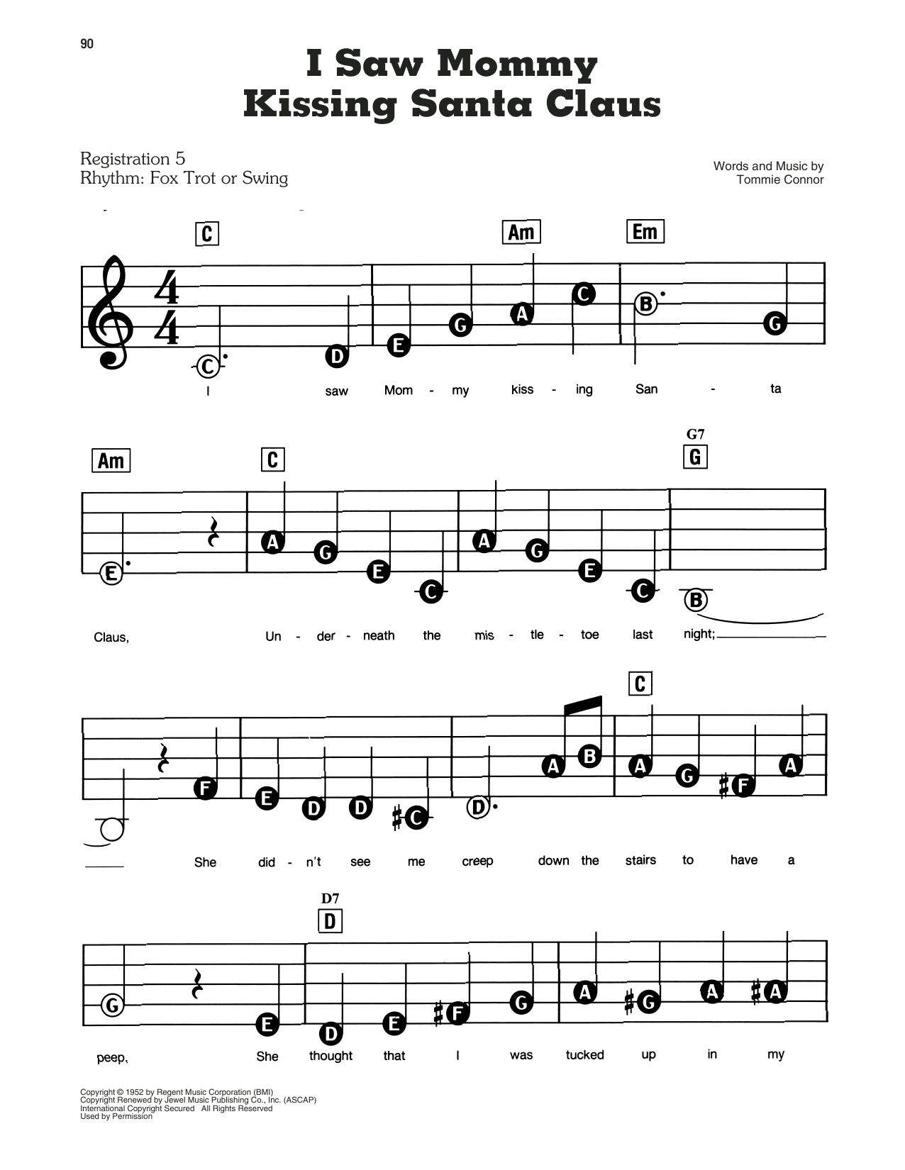 Tommie Connor I Saw Mommy Kissing Santa Claus sheet music preview music notes and score for E-Z Play Today including 2 page(s)