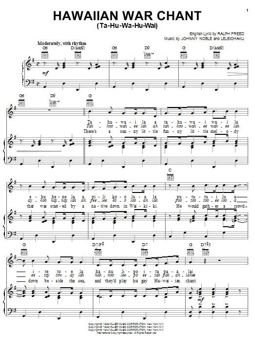 Tommy Dorsey Hawaiian War Chant sheet music notes and chords