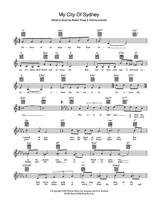 Tommy Leonetti My City Of Sydney sheet music preview music notes and score for Melody Line, Lyrics & Chords including 2 page(s)