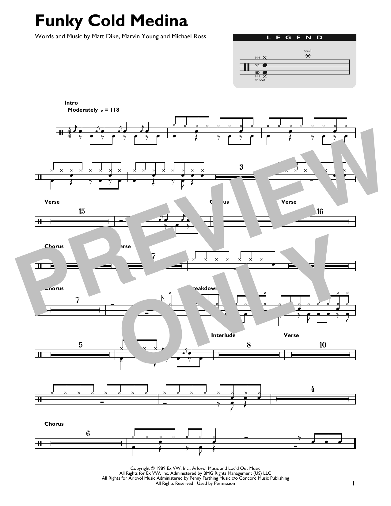 Download Tone Loc 'Funky Cold Medina' Digital Sheet Music Notes & Chords and start playing in minutes