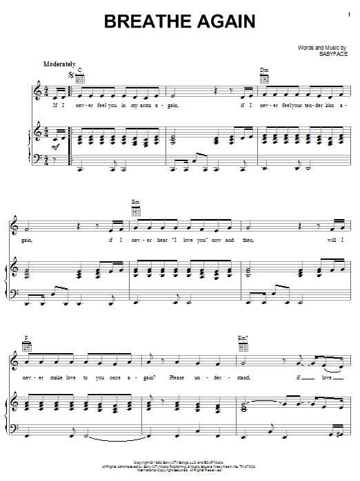 Toni Braxton Breathe Again sheet music notes and chords