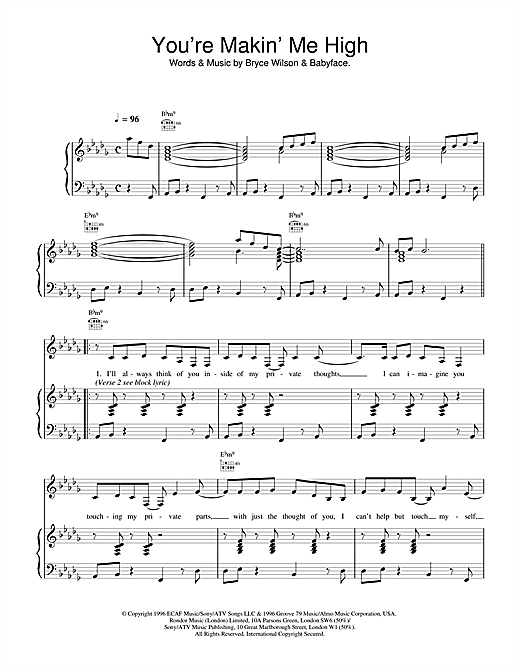 Toni Braxton You're Makin' Me High sheet music preview music notes and score for Lead Sheet / Fake Book including 2 page(s)