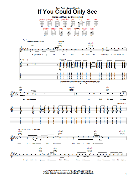 Tonic If You Could Only See sheet music preview music notes and score for Lyrics & Piano Chords including 4 page(s)