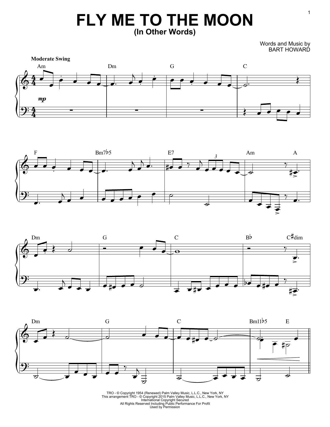 Tony Bennett Fly Me To The Moon (In Other Words) sheet music notes and chords