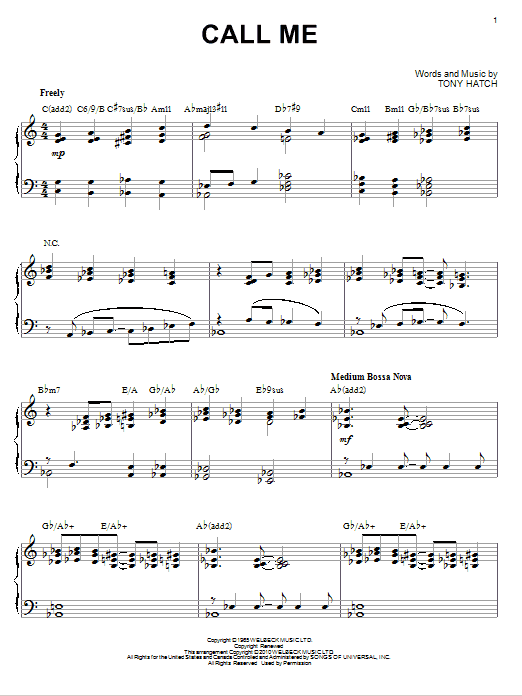 Download Tony Hatch 'Call Me' Digital Sheet Music Notes & Chords and start playing in minutes