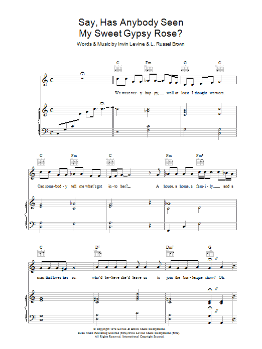 Tony Orlando Say, Has Anybody Seen My Sweet Gypsy Rose? sheet music preview music notes and score for Piano, Vocal & Guitar (Right-Hand Melody) including 5 page(s)