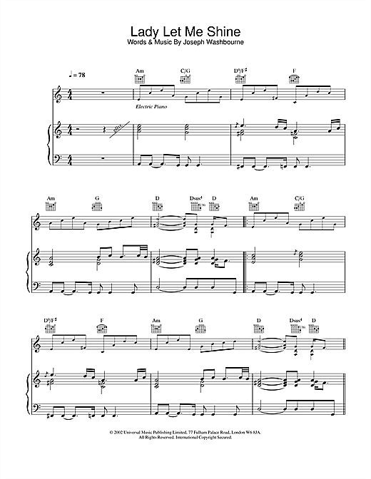 Toploader Lady Let Me Shine sheet music notes and chords