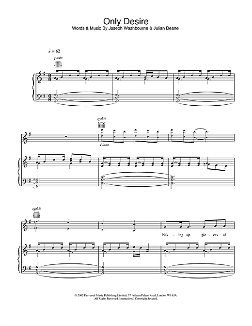 Toploader Only Desire sheet music notes and chords