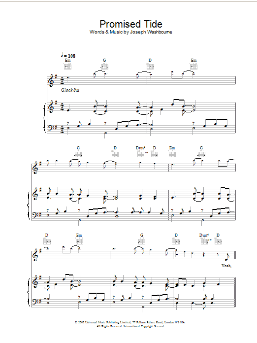 Toploader Promised Tide sheet music preview music notes and score for Piano, Vocal & Guitar including 7 page(s)