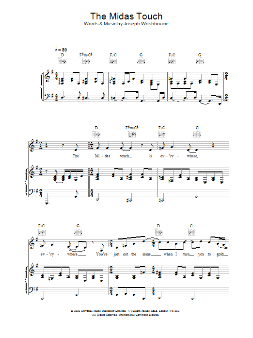 Toploader The Midas Touch sheet music preview music notes and score for Piano, Vocal & Guitar including 8 page(s)