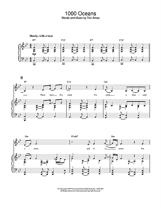 Tori Amos 1000 Oceans sheet music notes and chords