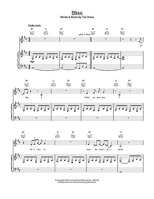Tori Amos Bliss sheet music notes and chords