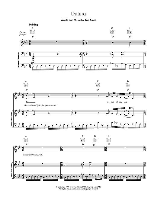 Tori Amos Datura sheet music notes and chords