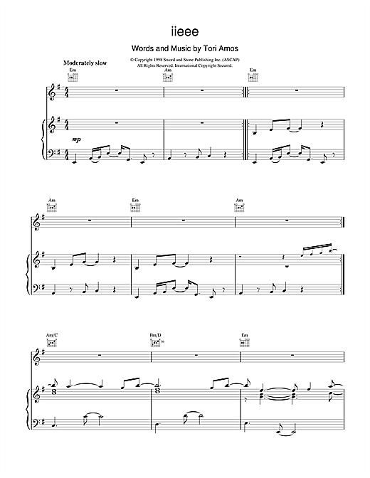 Tori Amos iieee sheet music notes and chords