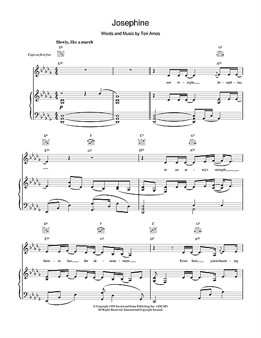 Tori Amos Josephine sheet music notes and chords