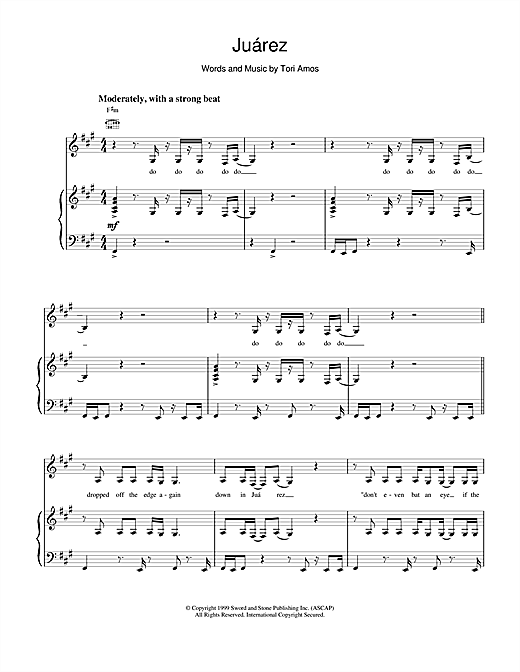 Tori Amos Juarez sheet music notes and chords