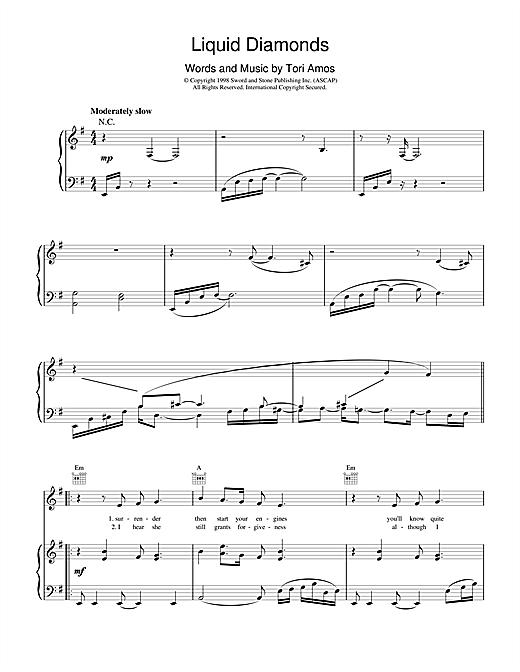 Tori Amos Liquid Diamonds sheet music notes and chords
