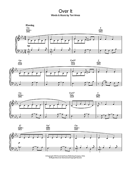 Download Tori Amos 'Over It' Digital Sheet Music Notes & Chords and start playing in minutes