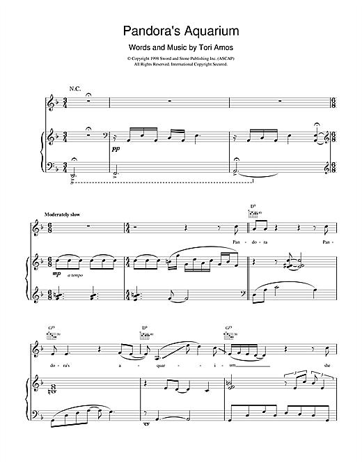 Tori Amos Pandora's Aquarium sheet music notes and chords