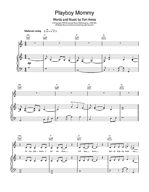 Tori Amos Playboy Mommy sheet music notes and chords