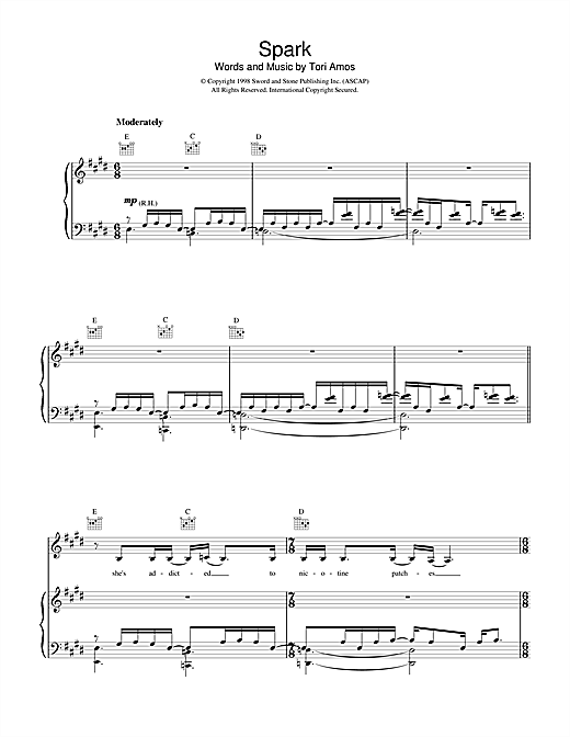 Tori Amos Spark sheet music notes and chords