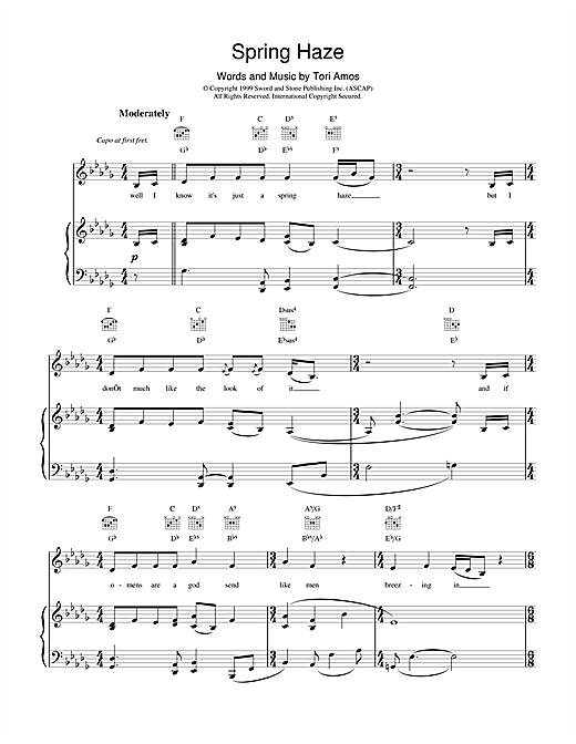 Tori Amos Spring Haze sheet music notes and chords