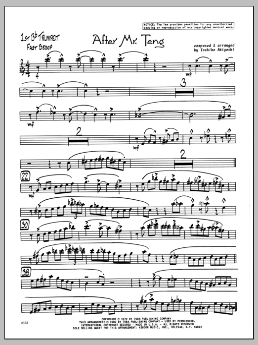 Toshiko Akiyoshi After Mr. Teng - 1st Bb Trumpet sheet music preview music notes and score for Jazz Ensemble including 2 page(s)