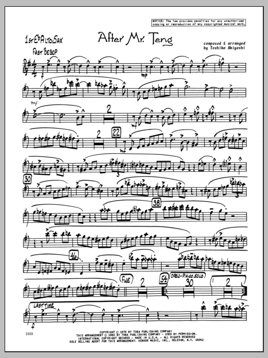 Toshiko Akiyoshi After Mr. Teng - 1st Eb Alto Saxophone sheet music preview music notes and score for Jazz Ensemble including 2 page(s)