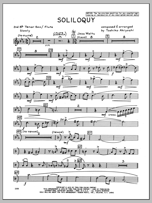 Toshiko Akiyoshi Soliloquy - 2nd Bb Tenor Saxophone sheet music preview music notes and score for Jazz Ensemble including 2 page(s)