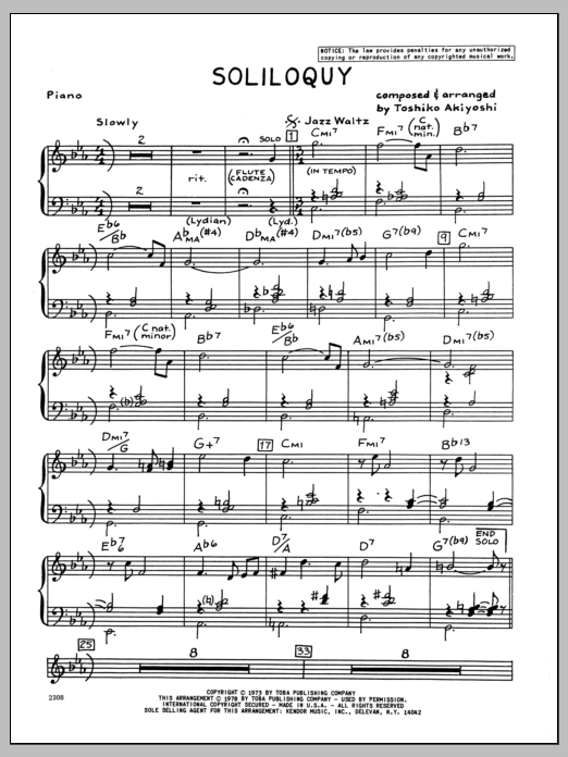 Toshiko Akiyoshi Soliloquy - Piano sheet music preview music notes and score for Jazz Ensemble including 4 page(s)