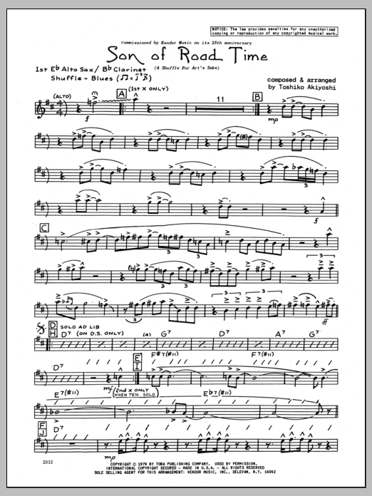 Toshiko Akiyoshi Son Of Road Time - 1st Eb Alto Saxophone sheet music preview music notes and score for Jazz Ensemble including 3 page(s)