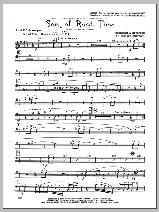Toshiko Akiyoshi Son Of Road Time - 2nd Bb Trumpet sheet music preview music notes and score for Jazz Ensemble including 3 page(s)
