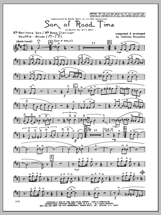 Toshiko Akiyoshi Son Of Road Time - Eb Baritone Sax sheet music preview music notes and score for Jazz Ensemble including 3 page(s)