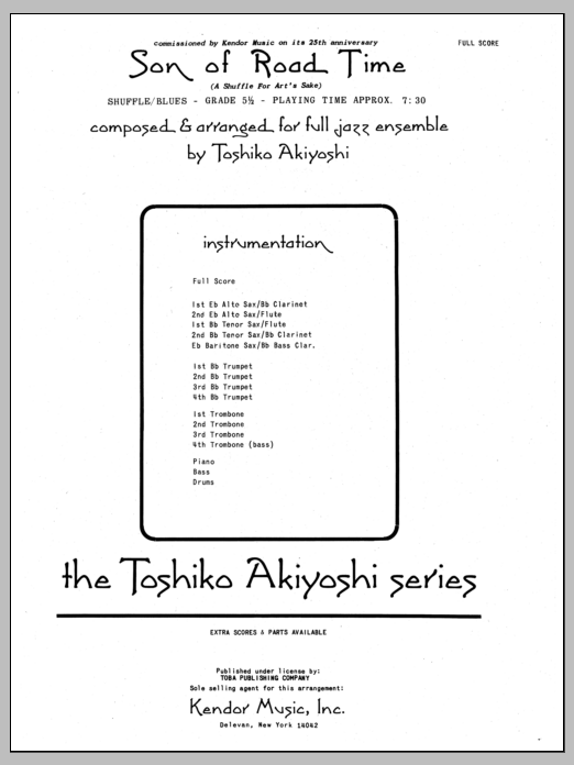 Toshiko Akiyoshi Son Of Road Time - Full Score sheet music preview music notes and score for Jazz Ensemble including 12 page(s)