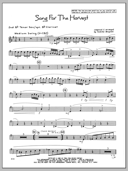 Toshiko Akiyoshi Song For The Harvest - 2nd Bb Tenor Saxophone sheet music preview music notes and score for Jazz Ensemble including 3 page(s)