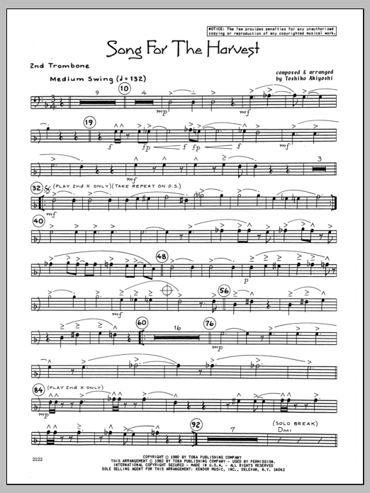 Toshiko Akiyoshi Song For The Harvest - 2nd Trombone sheet music preview music notes and score for Jazz Ensemble including 2 page(s)