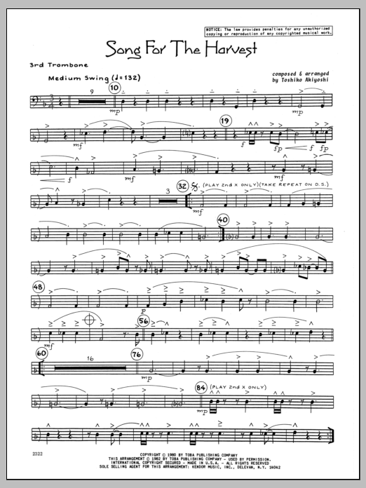 Toshiko Akiyoshi Song For The Harvest - 3rd Trombone sheet music preview music notes and score for Jazz Ensemble including 2 page(s)