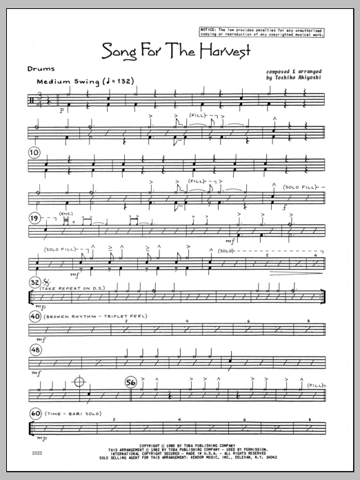 Toshiko Akiyoshi Song For The Harvest - Drums sheet music preview music notes and score for Jazz Ensemble including 2 page(s)