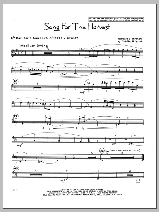 Toshiko Akiyoshi Song For The Harvest - Eb Baritone Sax sheet music preview music notes and score for Jazz Ensemble including 3 page(s)
