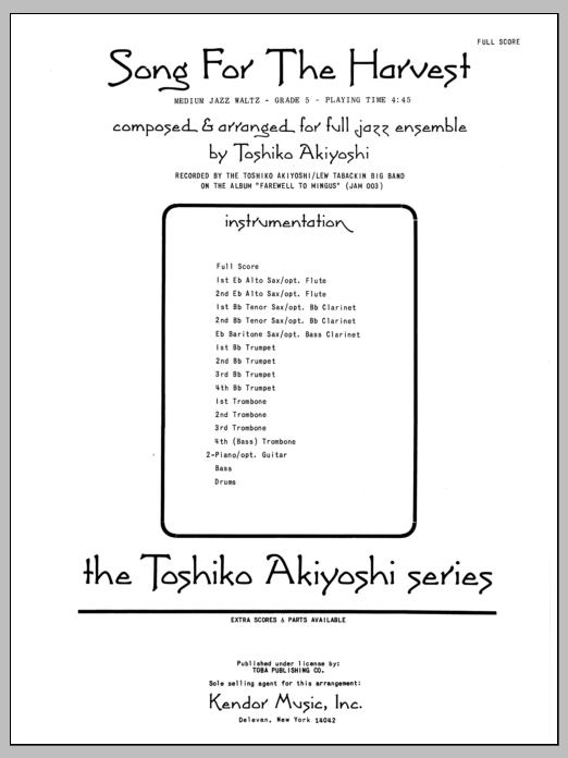 Toshiko Akiyoshi Song For The Harvest - Full Score sheet music preview music notes and score for Jazz Ensemble including 12 page(s)