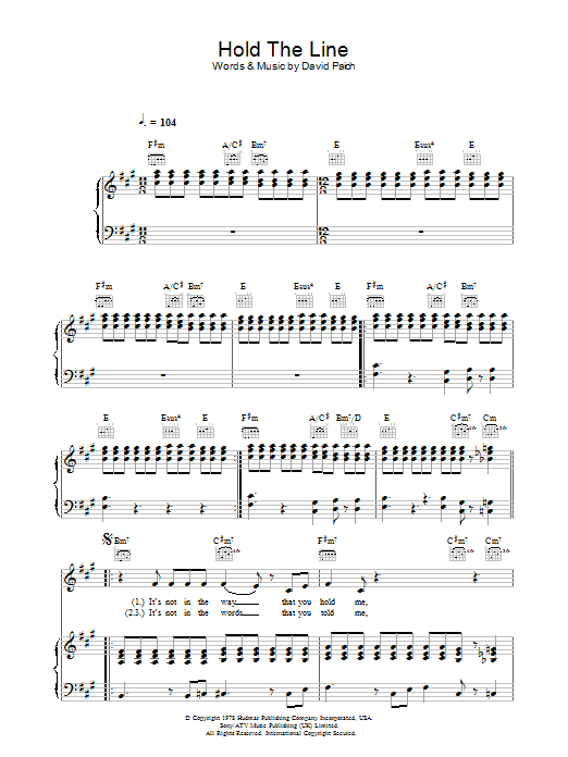 Toto Hold The Line sheet music preview music notes and score for Easy Guitar including 4 page(s)